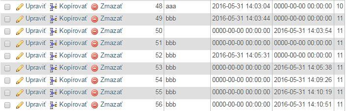 Zapis datumu a mena do databázy